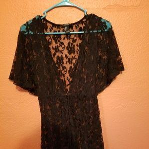 Forever 21 Dresses - Long black lace button down dress